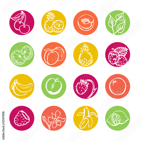 Web icons set. Fruits and berries. Health food