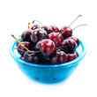 Fresh cherries in bowl isolated on white