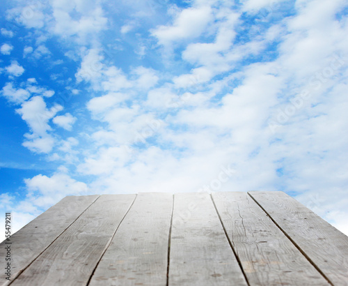 wooden podium on background beautiful celestial landscape