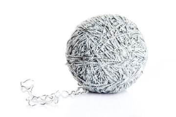 ball of yarn for knitting isolated on white background