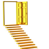 Golden stairs and open doors