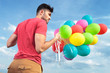 back view of casual man with balloons