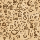 Coffee time, seamless background grunge for your design