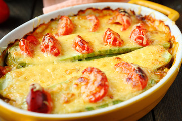 courgette baked with cheese and tomatoes