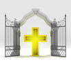 divine golden cross in heavenly gate