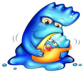 A caring blue monster
