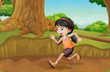 A kid running at the forest