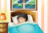 Fototapety A boy sleeping soundly in his room