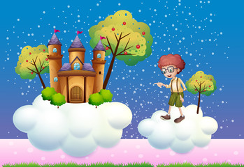Clouds with a boy and a castle