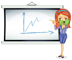 A young lady explaining a chart
