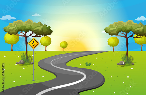 A long and winding road at the forest