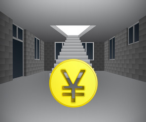 house interior with yuan coin downstairs vector