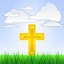 Gräsbevuxna landskap med religion symbol och himmel vektor
