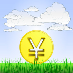 grassy landscape with yen or yuan coin and sky vector
