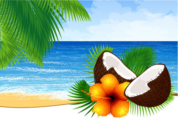 Vector background of paradise island with tide, palm leaves,