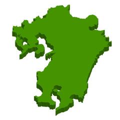 九州 地図 3D