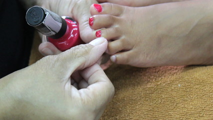 Toe Nail Painted During Pedicure