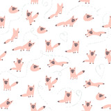 Fototapety Vector seamless pattern with cute pink foxes