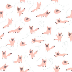 Vector seamless pattern with cute pink foxes