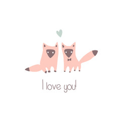 Two vector foxes in love. Valentine greeting card