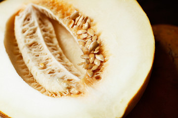 Cut melon with seeds