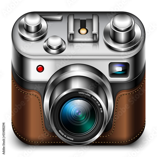 Photo camera icon with zoom lens, vector