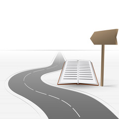 road leading to education with book vector