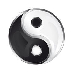 isolated glossy yin and yang icon vector