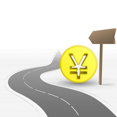 road leading to bank with yen coin vector