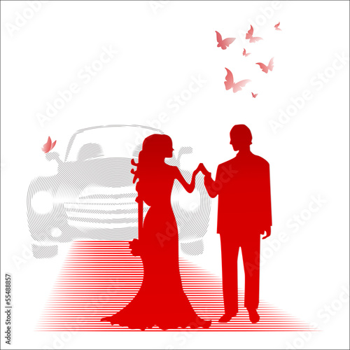 Bride and groom and the car