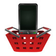 red basket shopping with smart phone vector