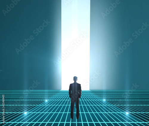 man looking at interface