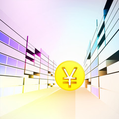 asian yen coin in colorful banking city street vector