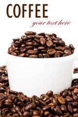 White cup full of coffee beans on Roasted Coffee Beans  backgrou
