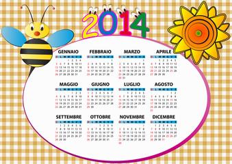 2014 bee and sunflower calendar for children in italian