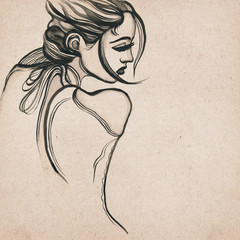 Beautiful modern woman drawing