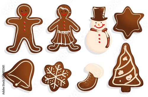 Christmas cookies vector set.