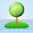 lonely island with solitary tree vector