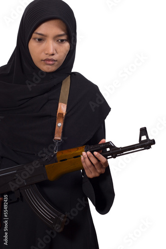 woman with a machine gun