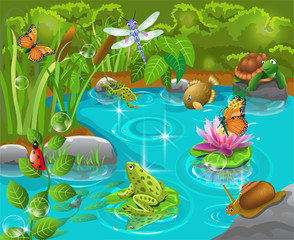 animals in the pond
