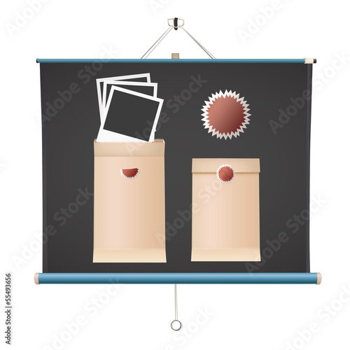 Realistic photos inside envelope over projector screen.