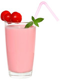 Fruit smoothie decorated pair of cherries