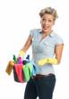 Energische Putzfrau mit Putzeimer