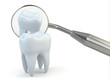 Tooth and dental equipment on white background.