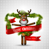 Christmas deer with red banner