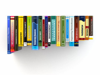 Concept of learning. Books on the shelf.