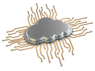 Processor or chip on white background. Cloud computing.