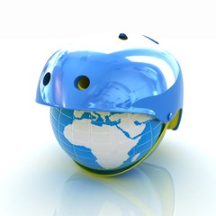 Bicycle helmet on earth. The concept of healthy life and sport.