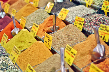 Tea and spices on an Egyptian market of Istanbul, Turkey