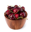 Cherry in wooden bowl